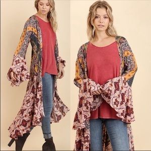 Floral print bell sleeve duster